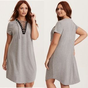 Grey lace up front t-shirt dress